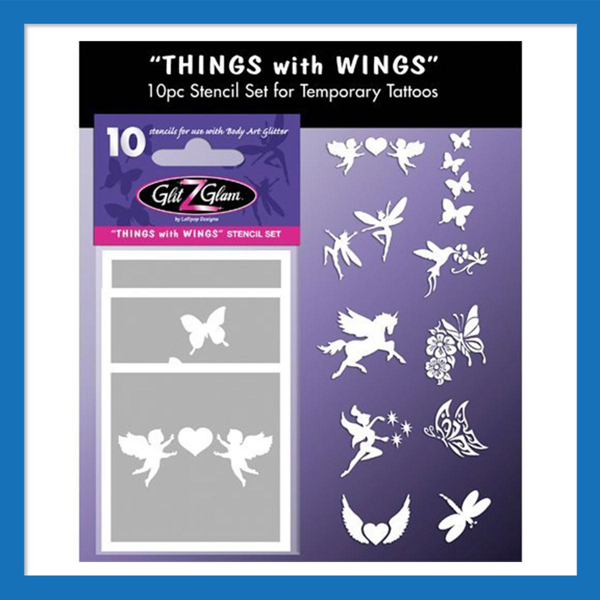 test kit de mod les pour tatouages temporaires motifs avec des ailes. Black Bedroom Furniture Sets. Home Design Ideas
